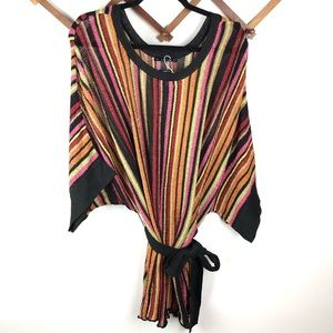 Zara Knit Metallic Stripped Belted Tunic